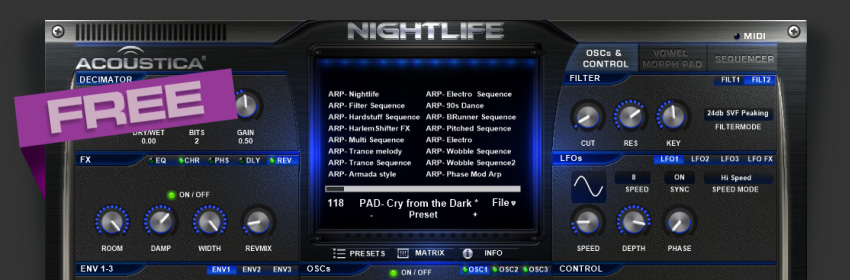 Free VST plug-in Nightlife